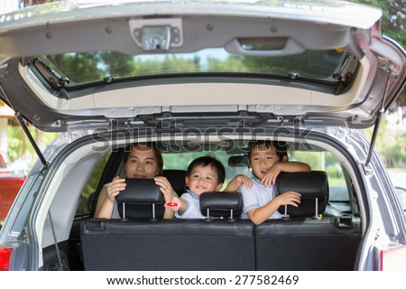 Families are traveling by car - stock photo