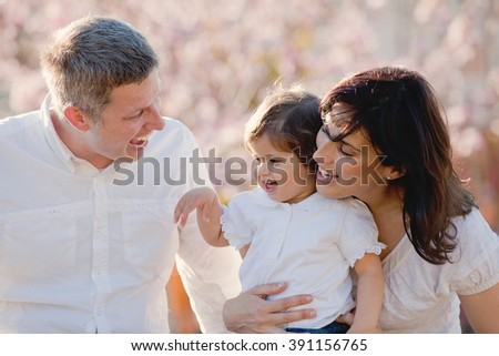 families, happy family of parents and child - stock photo
