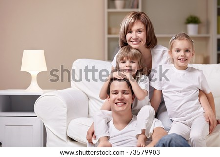 Families in the evening at home - stock photo