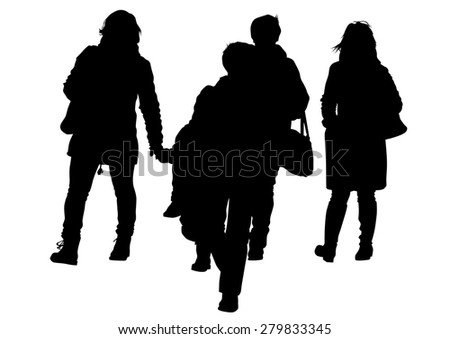 Families people with little child on white background - stock photo