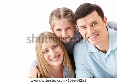 Families with a child on a white background - stock photo