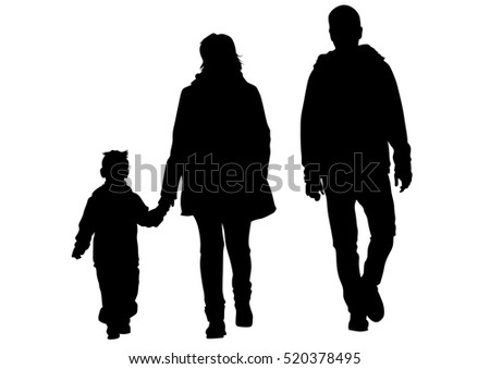 Families with child on white background