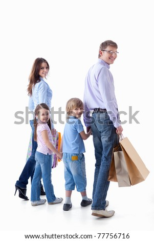Families with children and bags on a white background - stock photo