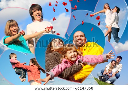 families with children and young pair scatters petals of roses against sky collage in heart shapes - stock photo