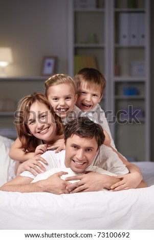 Families with children in the evening - stock photo