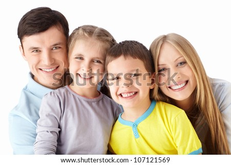 Families with children on a white background - stock photo