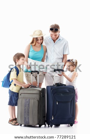 Families with children see the map on a white background - stock photo