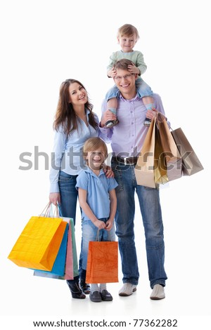 Families with children with shopping on white background - stock photo