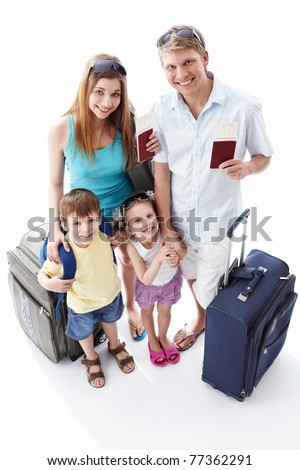 Families with passports and suitcases on a white background