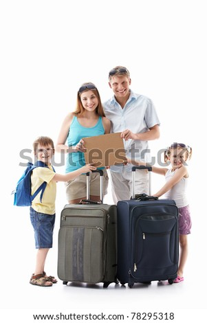 Families with suitcases holding an empty plate on a white background - stock photo
