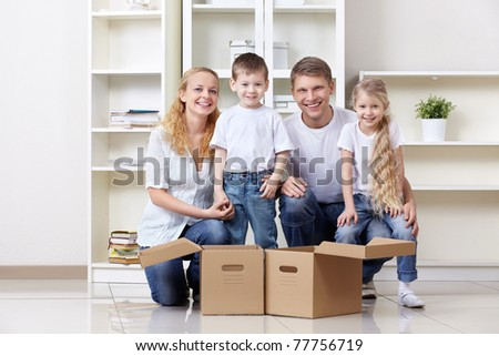 Families with young children at home - stock photo