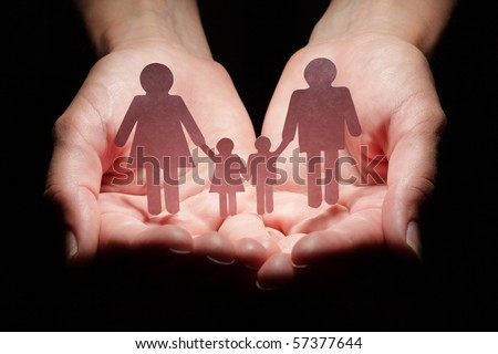 Family abstract in palm - stock photo
