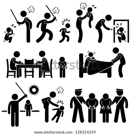 Family Abuse Children Hitting Confine Sexual Harassment Stick Figure Pictogram Icon - stock photo