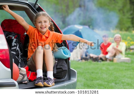 Family adventure - family on summer camp - stock photo