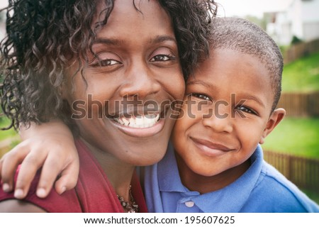 Family: African American Mother And Child - stock photo