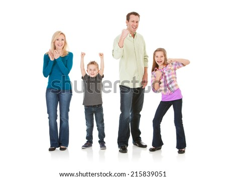 Family: All Members Of Family Are Excited And Cheering  - stock photo