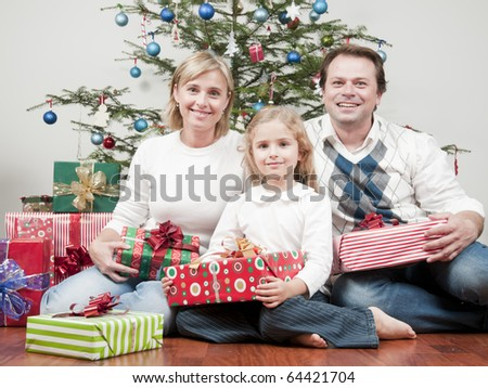 Family and a Christmas Tree - stock photo