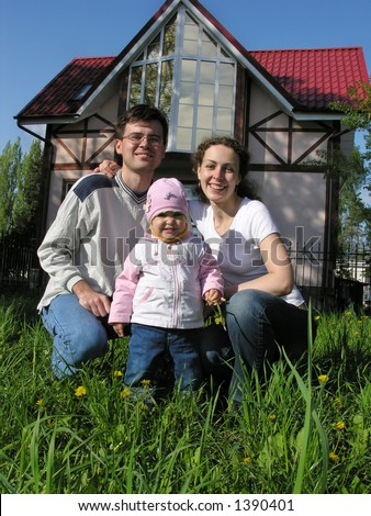 family and baby at home