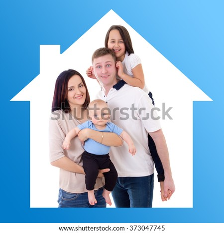family and home concept - happy father and mother with two kids - stock photo