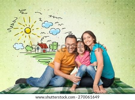 Family, Asian Ethnicity, House. - stock photo