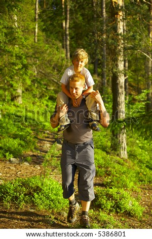 Family at the forest - stock photo