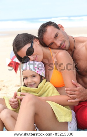 Family at the seaside - stock photo