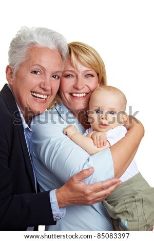 Family baby portrait with happy mother and grandmother - stock photo