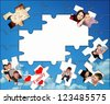 Family  background made of photo  puzzles - stock photo