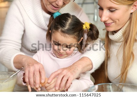 Family baking together - stock photo