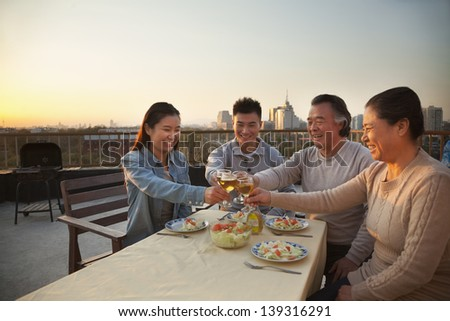 Family barbeque party, toast - stock photo