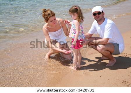 family beach - stock photo