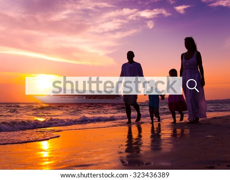 Family Beach Party Summer Holiday Vacation Concept - stock photo