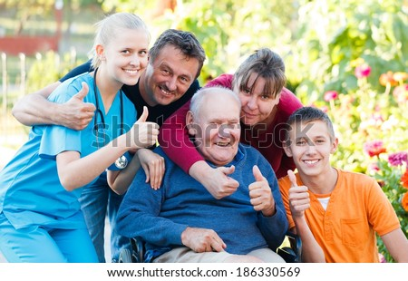 Family being satisfied with the medical attendance. - stock photo