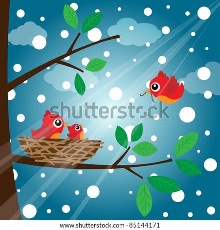 Family bird feeding in the evening - stock photo