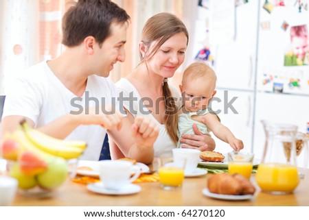 Family breakfast - stock photo