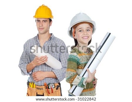 Family business isolated over white - stock photo