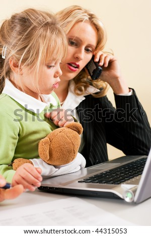 Family Business - telecommuter Businesswoman and mother having trouble  to concentrate on her work while the kid is trying to get some attention - metaphor for the lifestyle choices we all face - stock photo