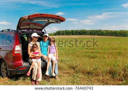 Family car trip - stock photo