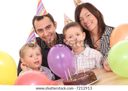 family celebrate birthday - birthday cake and lots of fun
