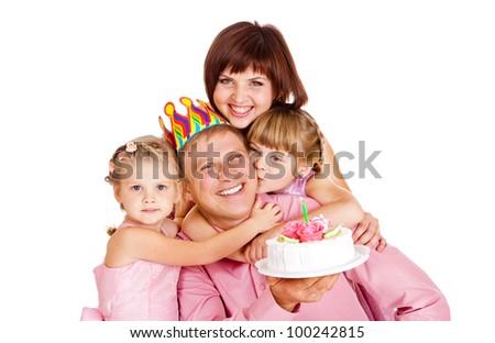 Family celebrating dad's birthday - stock photo