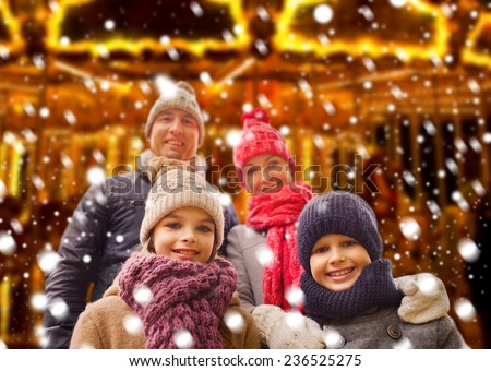 family, childhood, season and people concept - happy family outdoors - stock photo