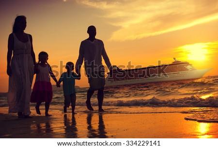 Family Children Beach Cruise Ship Relaxation Concept - stock photo