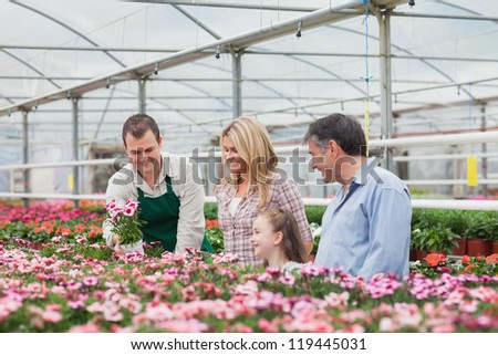 Family choosing a flower with employee in garden center of greenhouse - stock photo