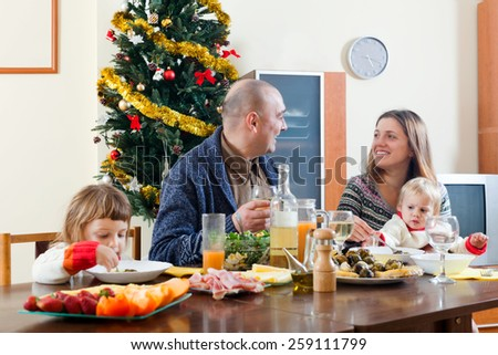 Family Christmas portrait  at home  interior - stock photo