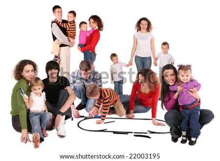 family collage with toy train - stock photo