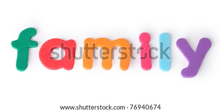 family, colorful letters for child, english word isolated on white