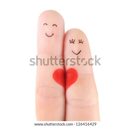 family concept - a man and a woman hold on the red heart, painted at fingers and isolated on white background - stock photo