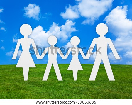 Family concept and nature background