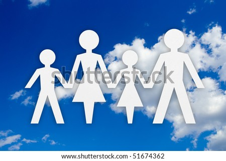 Family concept and sky background