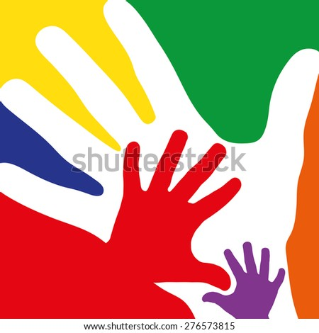 Family concept with many hands as colorful background - stock photo